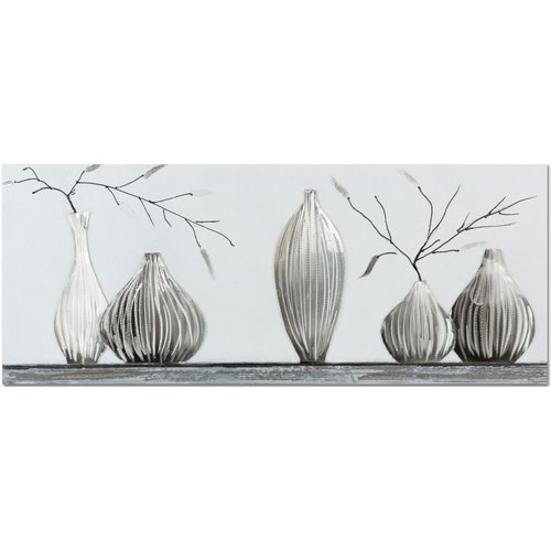 Oil painting 100x40cm 5 Vases - Copy