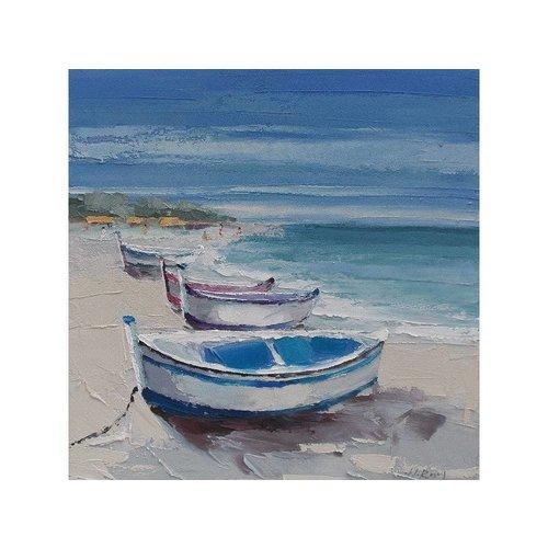 Canvas schilderij 100 x 100 cm Bootjes op strand