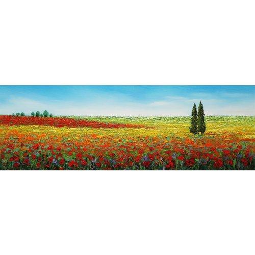 Canvas schilderij 150 x 50 cm  Bloemenveld