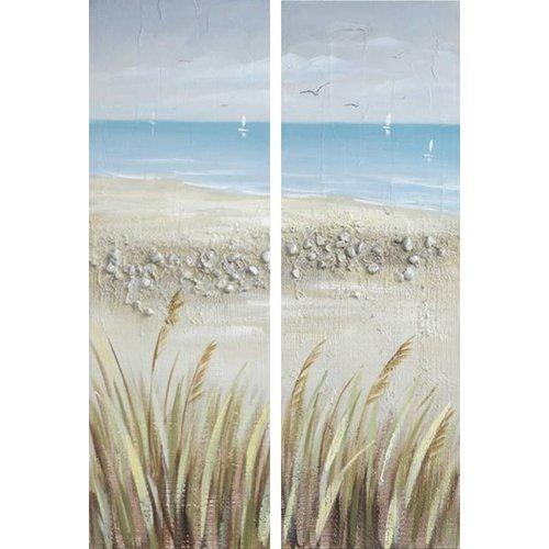 Canvas schilderij 2 delig 40 x 120 cm Zeezicht