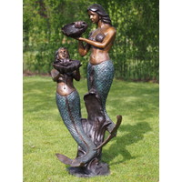 Bronzen zeemeermin fontein