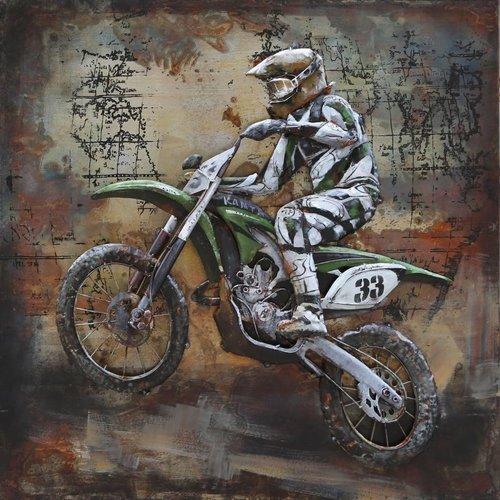 Eliassen Metall 3D-Malerei 100x100cm Motocross-Fahrer