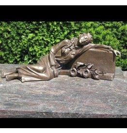 Eliassen Grave image lady lying at tombstone bronze