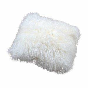 Kissen aus tibetischem Mantel Weiß