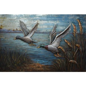 Metal painting 3d wild ducks 80x120