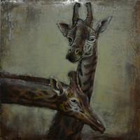 Schilderij 3d metaal Giraffen 100x100cm