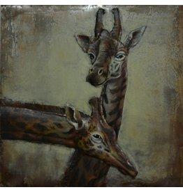 Eliassen Schilderij 3d metaal Giraffen 100x100cm