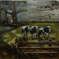 Malerei 3D Metall Kühe auf der Wiese 100x100cm