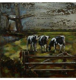 Eliassen Malerei 3D Metall Kühe auf der Wiese 100x100cm