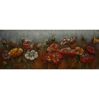 3D painting metal red flowers 60x150cm