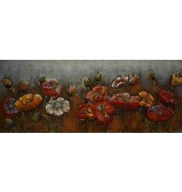 Eliassen 3D-Malerei Metall rote Blumen 60x150cm