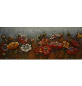 Eliassen 3D painting metal red flowers 60x150cm