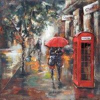 Painting metal 3d Telephone booth 100x100cm