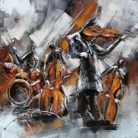 3d schilderij metaal 100x100cm Kamerorkest