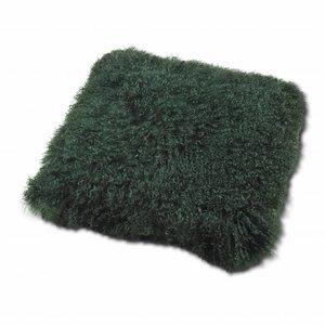 Kissen aus tibetischem Mantel Grün