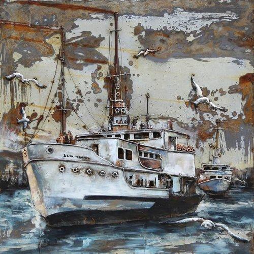 Eliassen 3D schilderij metaal Trawler 100x100cm
