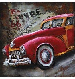 Eliassen Metalen 3d schilderij 60x60cm Inkomende auto