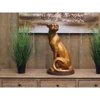 Bronze sitzender Jaguar