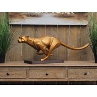 Bronzen lopende jaguar