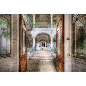 Eliassen Foto achterglas schilderij Openstaande deuren 80x120cm