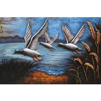 3d schilderij 80x120cm 3 Ganzen