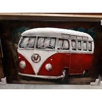 Malerei 3d Metall Bus rot 80x120cm