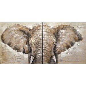 Oil painting 2 parts Elephant 100x100cm