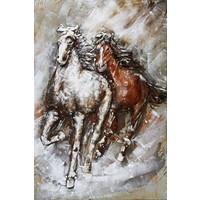 3D schilderij metaal 2 Paarden 80x120cm