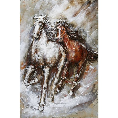 3D painting metal 2 Horses 80x120cm