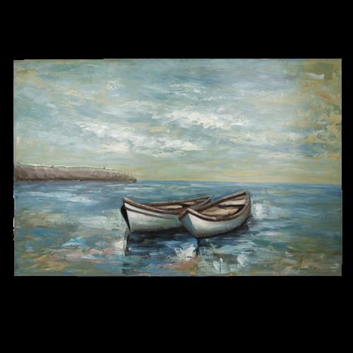 Metalen 3d schilderij 80x120cm Boten