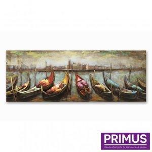 Primus metalen 3d schilderij 60x160cm rij boten