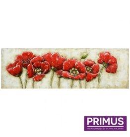 Primus Metalen 3d schilderij 55x180cm bloemen