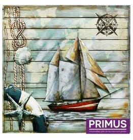 Primus 3D-Bemalung Metall 100x100cm Segelboot