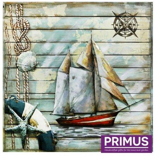 Primus 3D schilderij metaal 100x100cm zeilboot