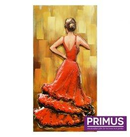 Primus Metalen 3d schilderij 70x140cm flamingo danseres