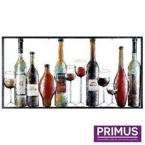 Primus Schilderij metaal 3d 60x120cm drankflessen
