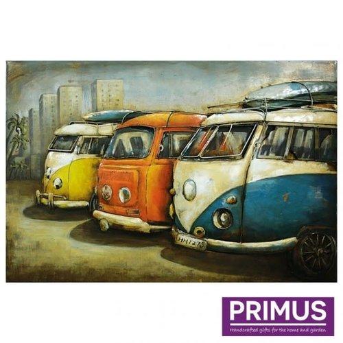 Primus Metalen schilderij 3d 80x120cm 60's bussen