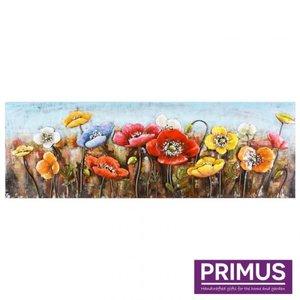 Primus Metalen schilderij 3D 60x180cm klaprozen