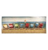 3D schilderij metaal 60x160cm Strandstoelen