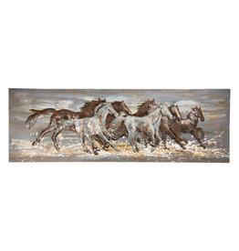 Metalen 3d schilderij 50x150cm Paarden