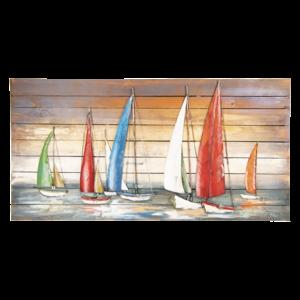Painting metal 3D 70x140cm Sailboats