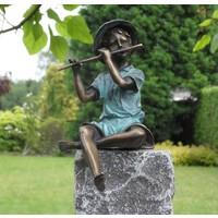 Beeld brons jongetje met fluit