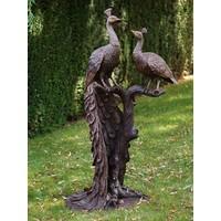 Beeld brons 2 pauwen op boomstronk