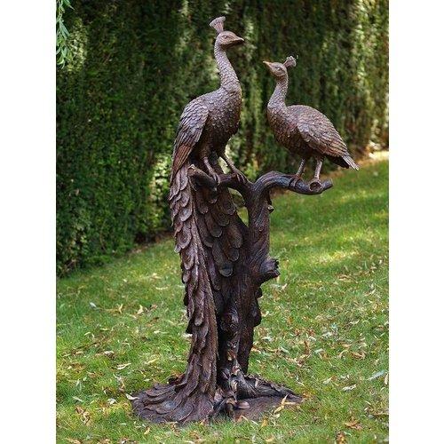 Eliassen Beeld brons 2 pauwen op boomstronk
