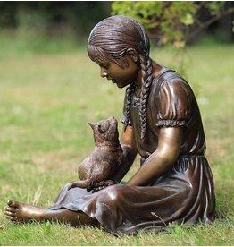 Eliassen Image bronze girl with cat