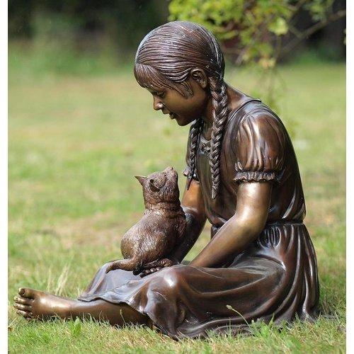 Eliassen Beeld brons meisje met poes