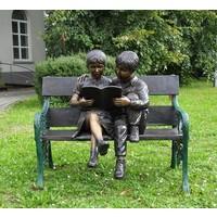 Beeld brons 2 kinderen op bank