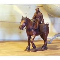Bronzen beeld paard met boer