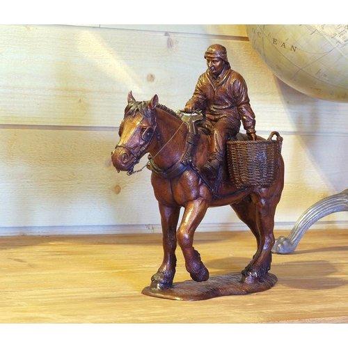 Eliassen Bronzen beeld paard met boer