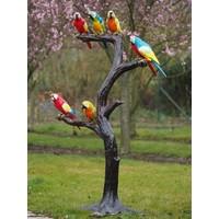 Beeld brons boom met papagaaien